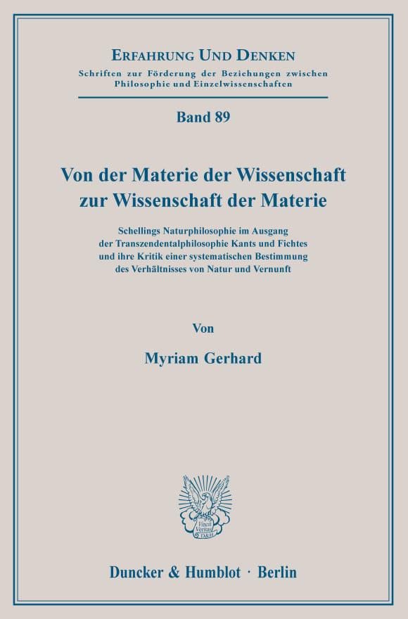 Cover Von der Materie der Wissenschaft zur Wissenschaft der Materie