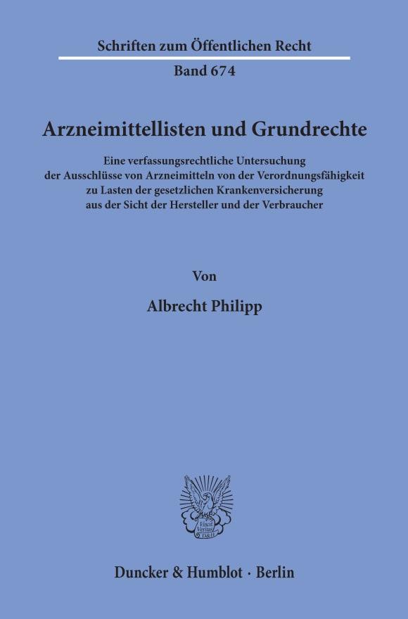 Cover Arzneimittellisten und Grundrechte