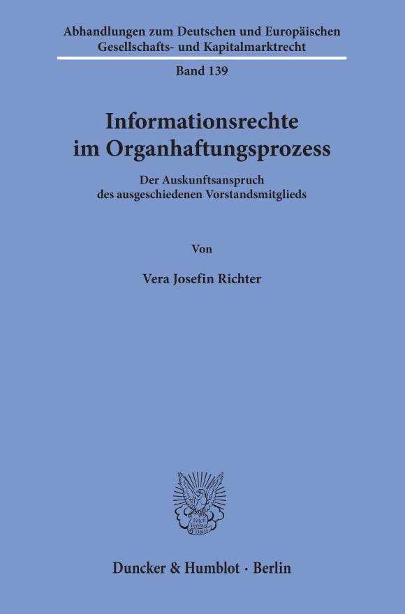 Cover Informationsrechte im Organhaftungsprozess