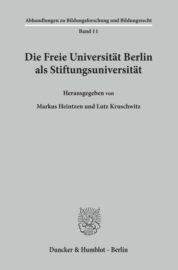 Cover Die Freie Universität Berlin als Stiftungsuniversität