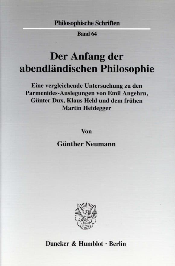 Cover Der Anfang der abendländischen Philosophie