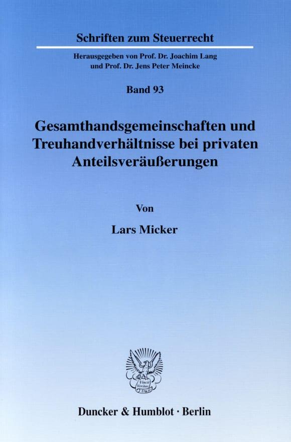 Cover Gesamthandsgemeinschaften und Treuhandverhältnisse bei privaten Anteilsveräußerungen