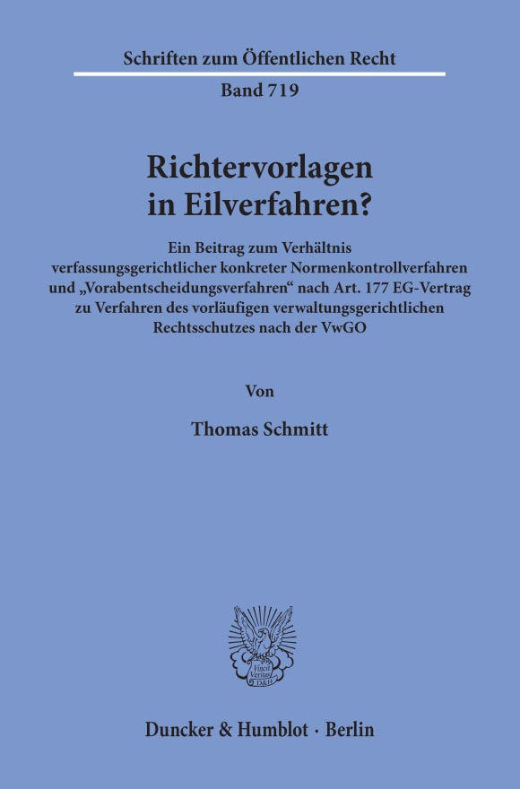 Cover Richtervorlagen in Eilverfahren?