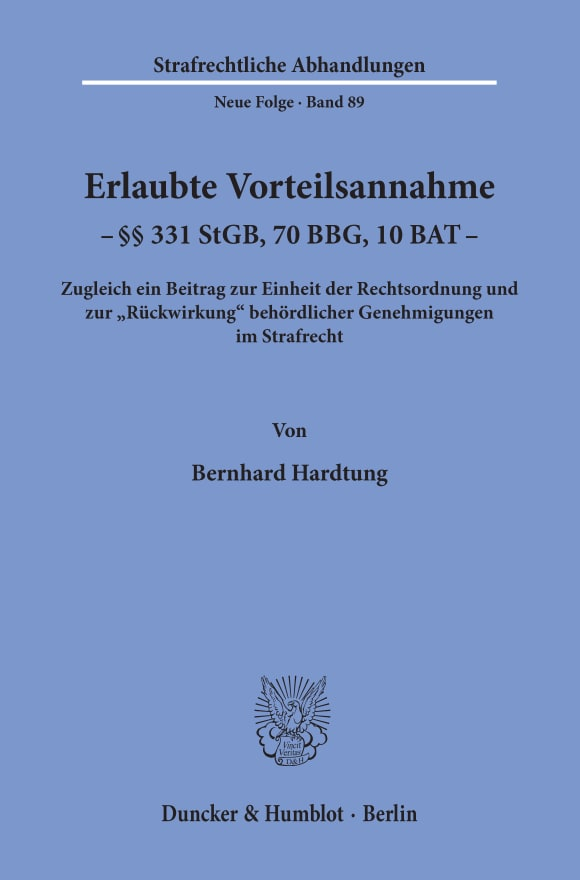 Cover Erlaubte Vorteilsannahme - §§ 331 StGB, 70 BBG, 10 BAT