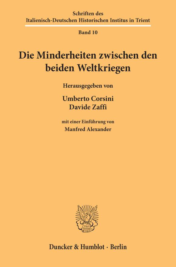 Cover Die Minderheiten zwischen den beiden Weltkriegen