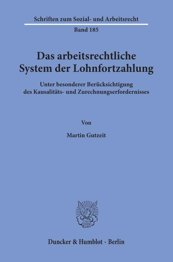 Cover Das arbeitsrechtliche System der Lohnfortzahlung