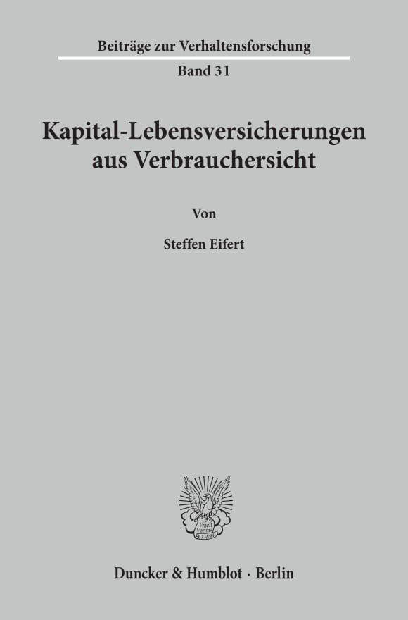 Cover Kapital-Lebensversicherungen aus Verbrauchersicht