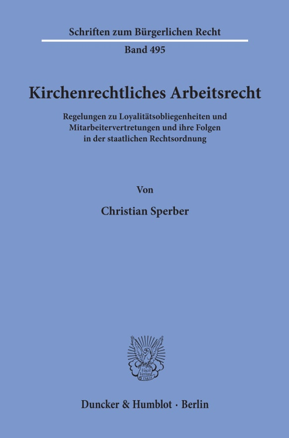 Cover Kirchenrechtliches Arbeitsrecht