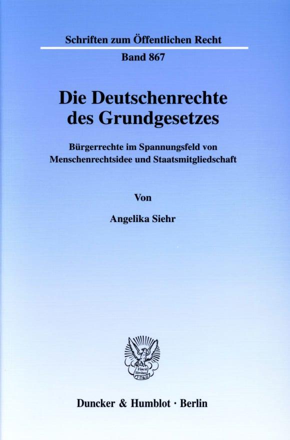 Cover Die Deutschenrechte des Grundgesetzes