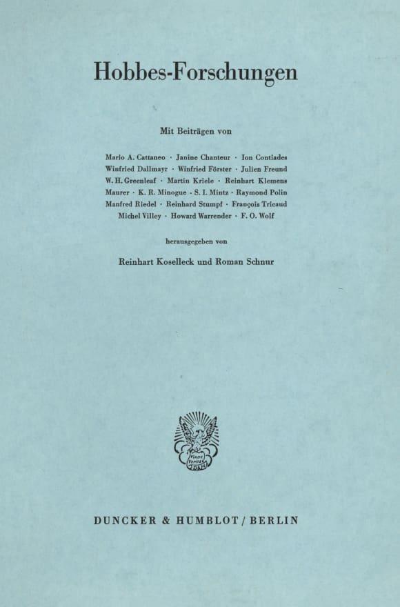Cover Hobbes-Forschungen