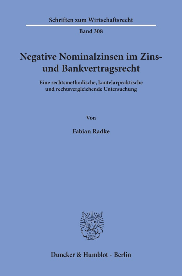 Cover Negative Nominalzinsen im Zins- und Bankvertragsrecht
