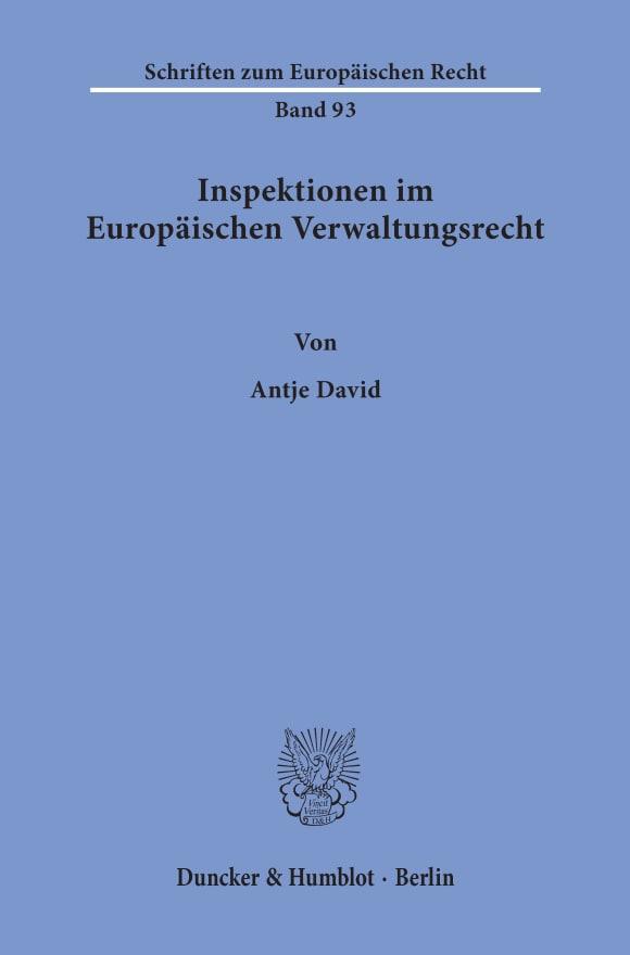 Cover Inspektionen im Europäischen Verwaltungsrecht