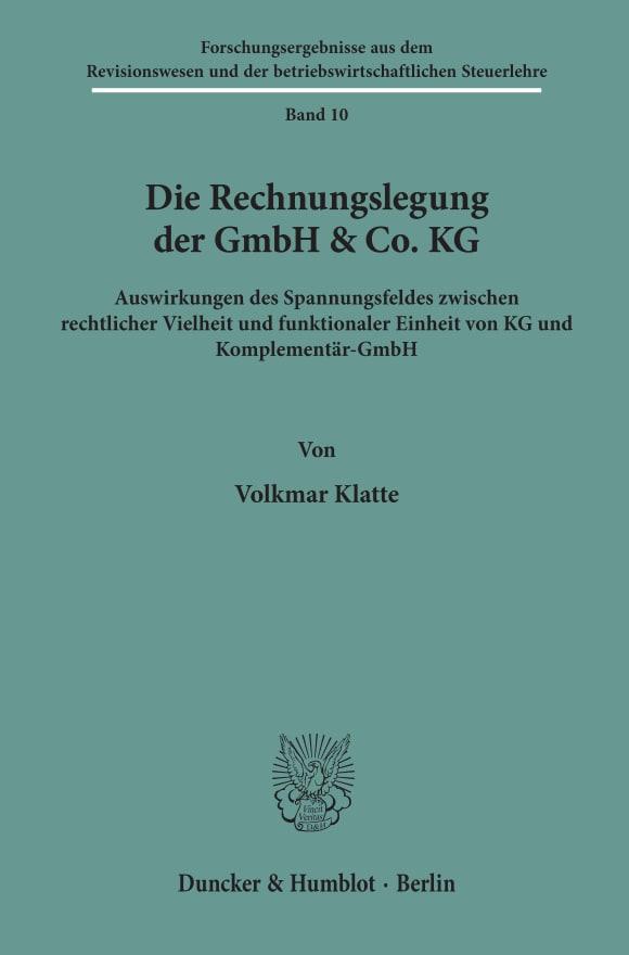 Cover Die Rechnungslegung der GmbH & Co. KG