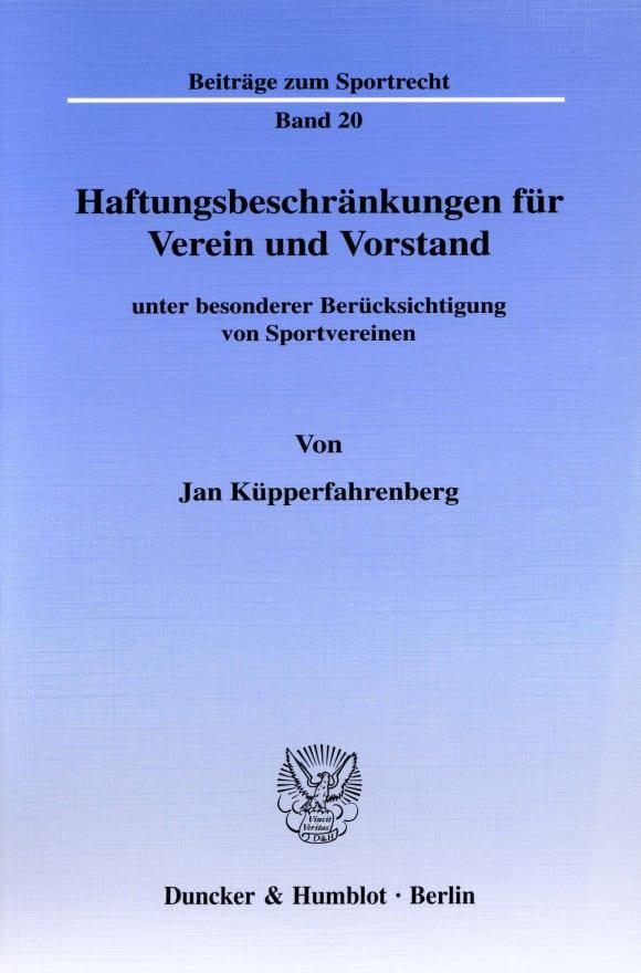 Cover Haftungsbeschränkungen für Verein und Vorstand