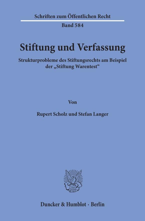Cover Stiftung und Verfassung