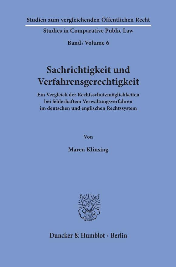 Cover Sachrichtigkeit und Verfahrensgerechtigkeit