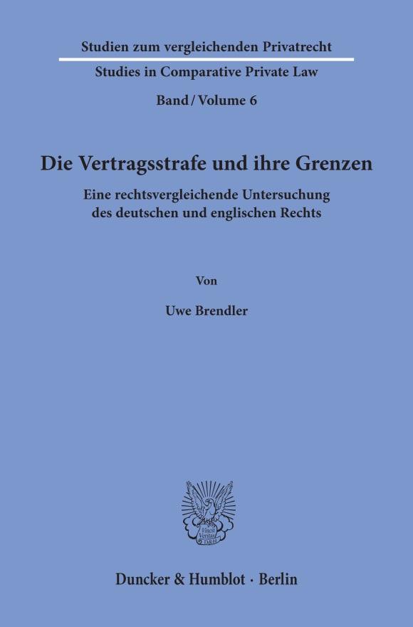 Cover Die Vertragsstrafe und ihre Grenzen