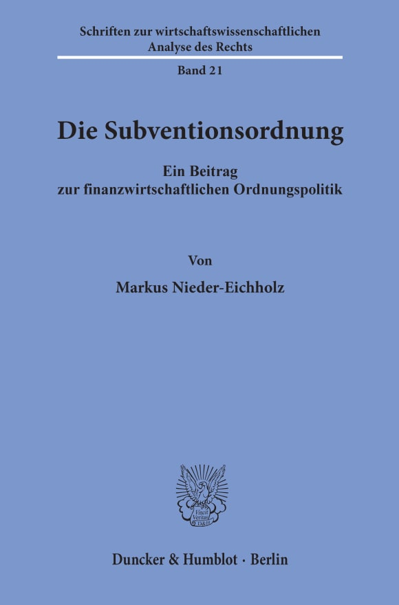 Cover Die Subventionsordnung