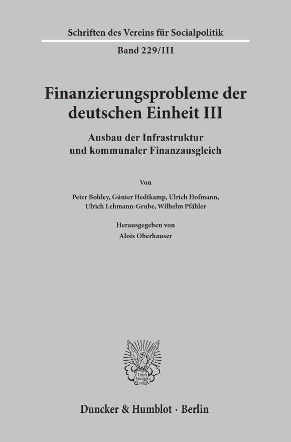 Cover Finanzierungsprobleme der deutschen Einheit III