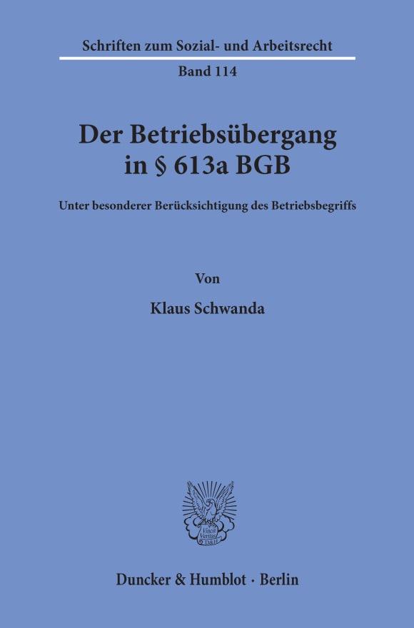Cover Der Betriebsübergang in § 613a BGB