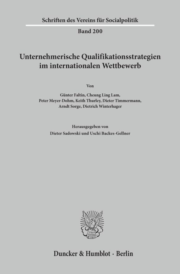 Cover Unternehmerische Qualifikationsstrategien im internationalen Wettbewerb