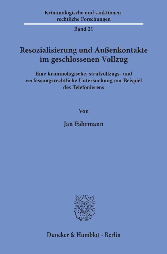 Cover Resozialisierung und Außenkontakte im geschlossenen Vollzug