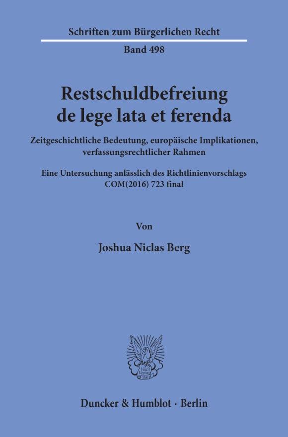 Cover Restschuldbefreiung de lege lata et ferenda