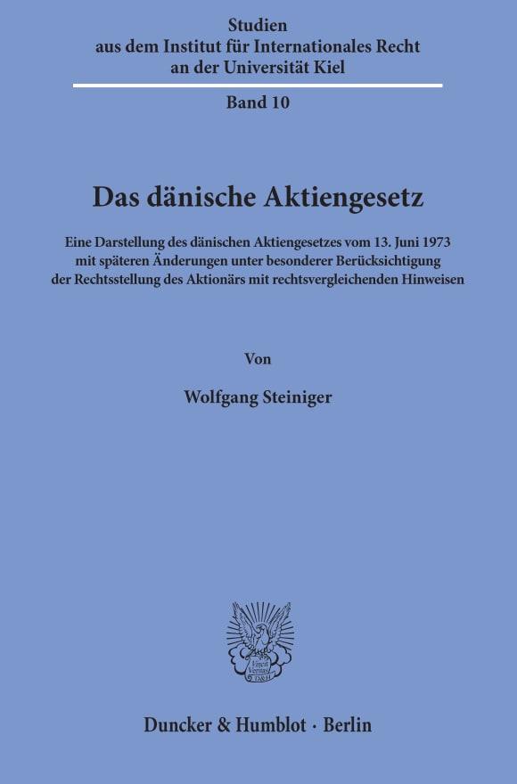 Cover Das dänische Aktiengesetz