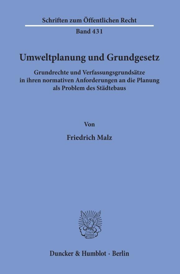 Cover Umweltplanung und Grundgesetz