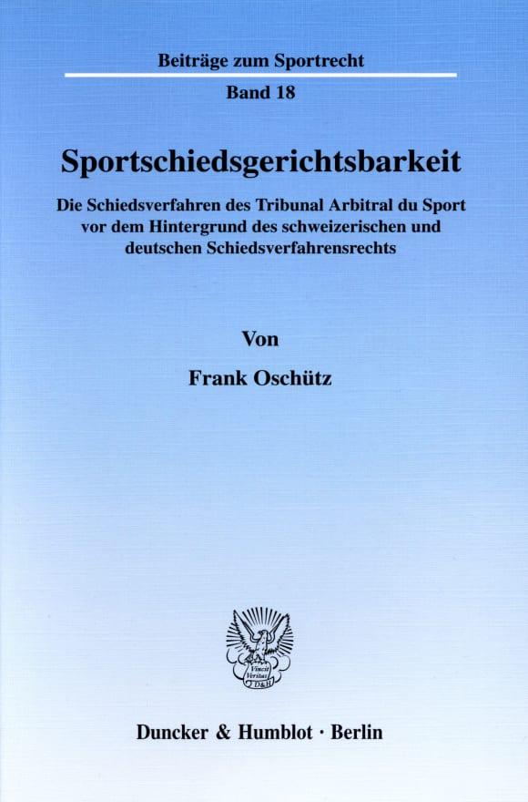 Cover Sportschiedsgerichtsbarkeit