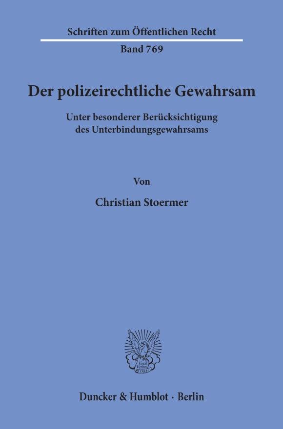 Cover Der polizeirechtliche Gewahrsam