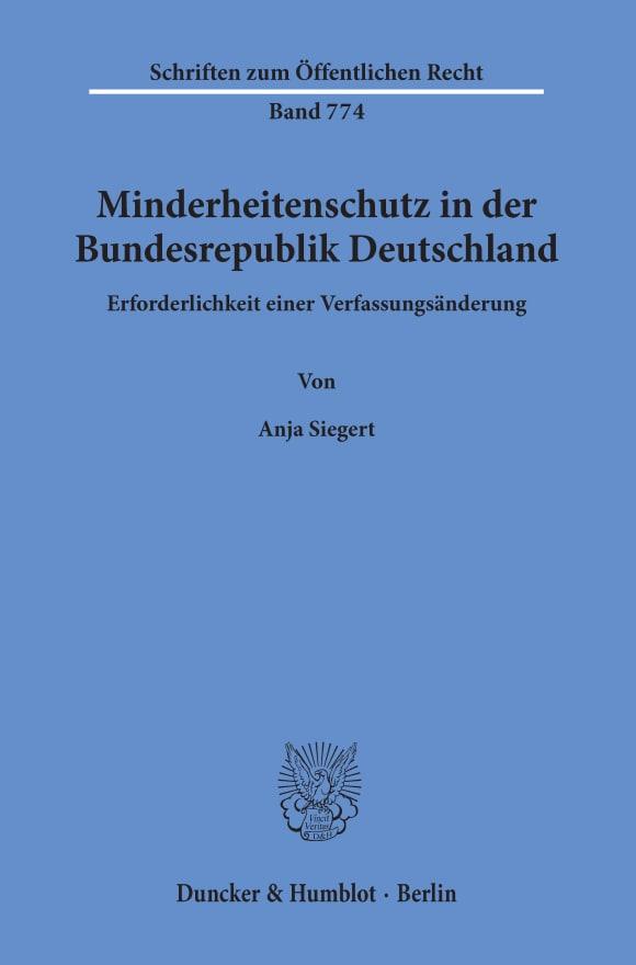 Cover Minderheitenschutz in der Bundesrepublik Deutschland