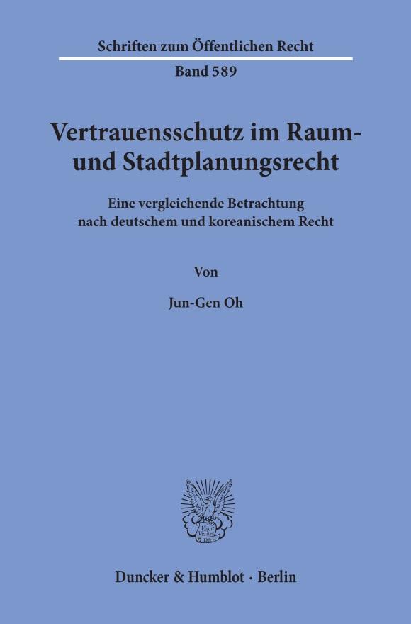 Cover Vertrauensschutz im Raum- und Stadtplanungsrecht