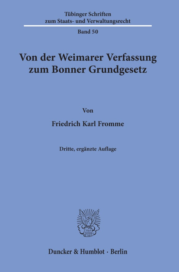Cover Von der Weimarer Verfassung zum Bonner Grundgesetz