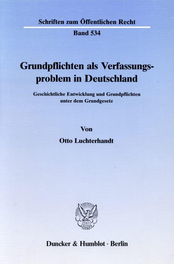 Cover Grundpflichten als Verfassungsproblem in Deutschland