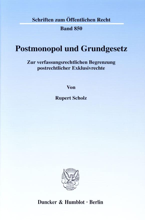 Cover Postmonopol und Grundgesetz