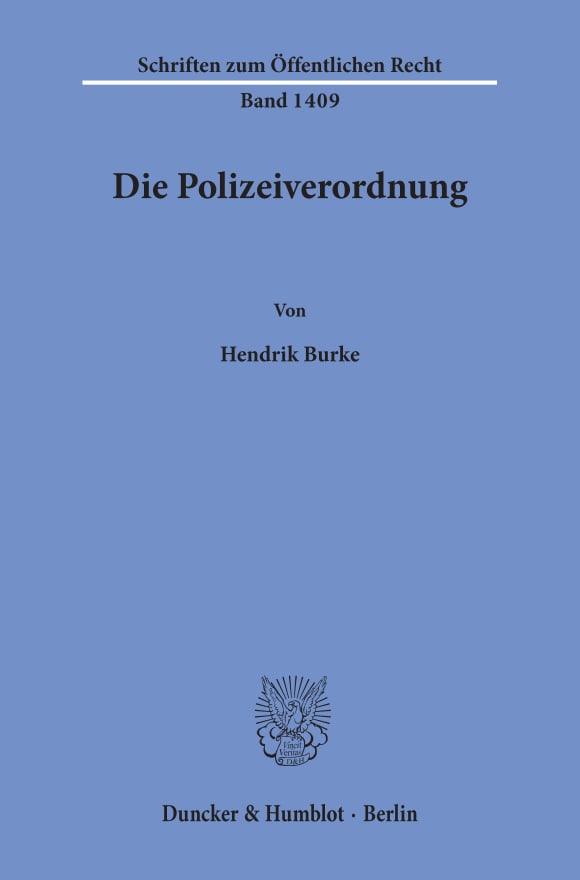 Cover Die Polizeiverordnung