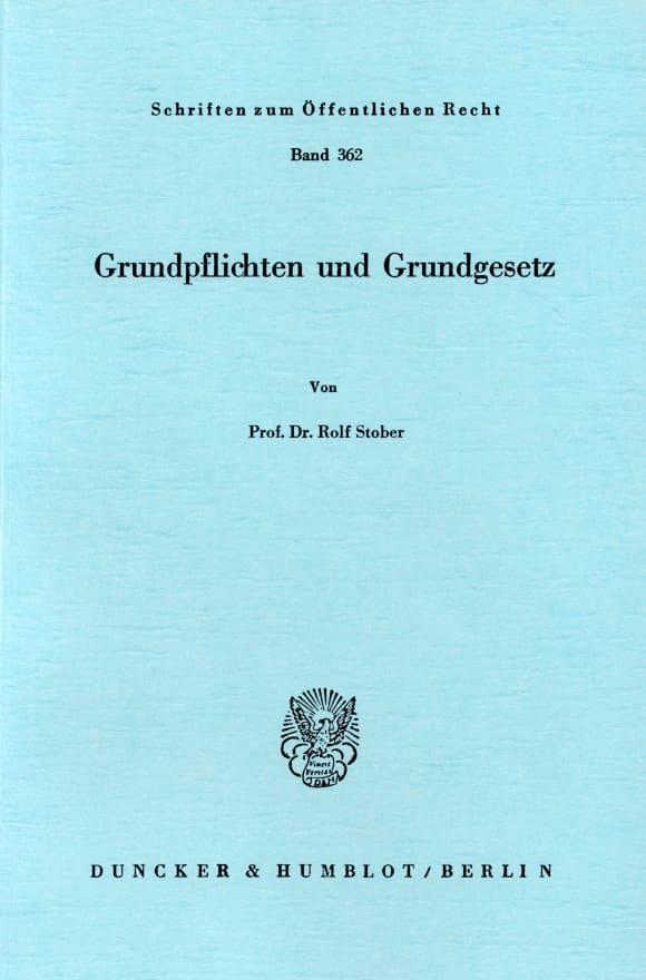 Cover Grundpflichten und Grundgesetz