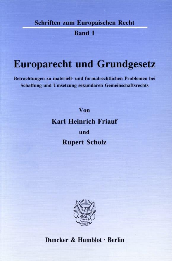 Cover Europarecht und Grundgesetz