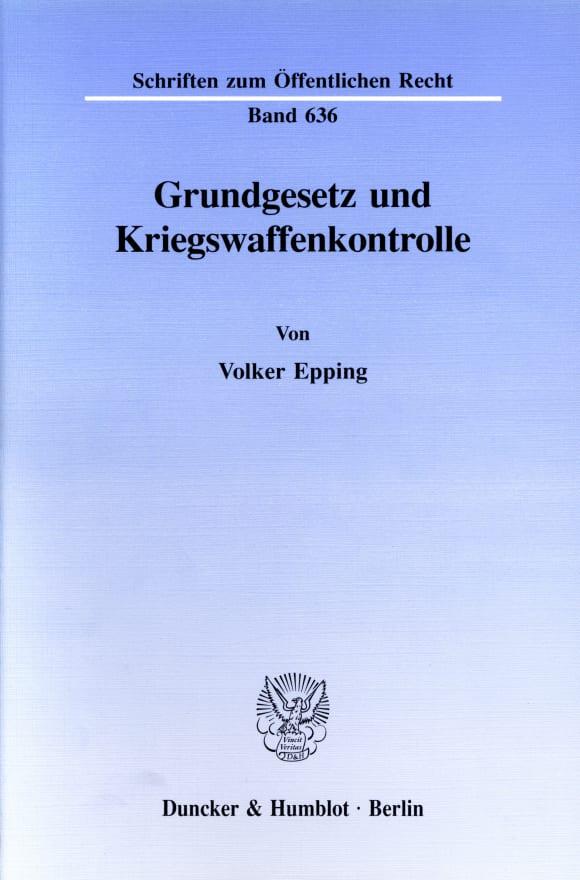 Cover Grundgesetz und Kriegswaffenkontrolle