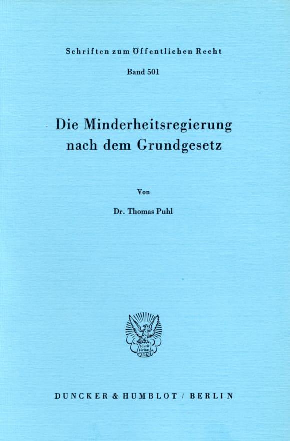 Cover Die Minderheitsregierung nach dem Grundgesetz