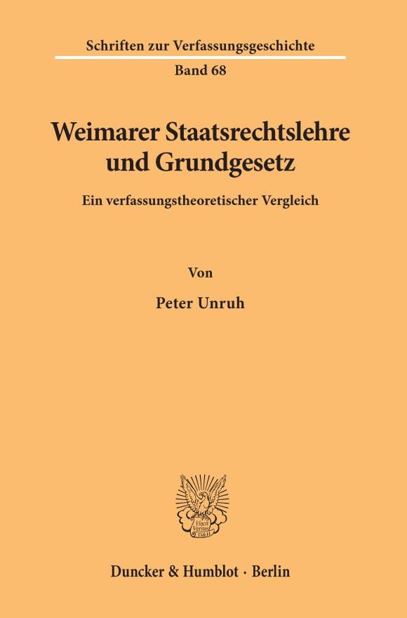 Cover Weimarer Staatsrechtslehre und Grundgesetz
