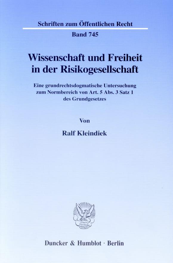 Cover Wissenschaft und Freiheit in der Risikogesellschaft