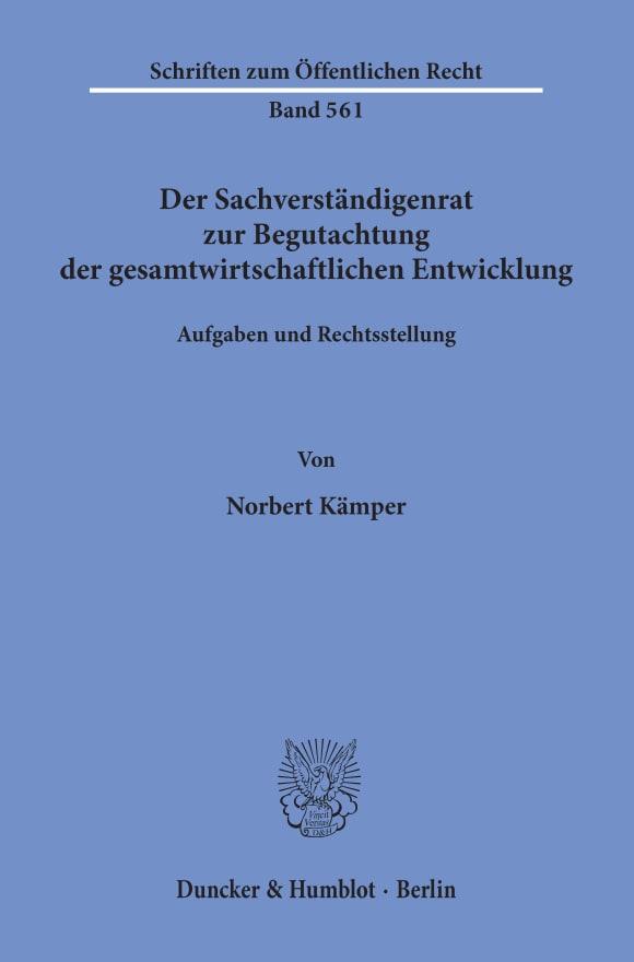 Cover Der Sachverständigenrat zur Begutachtung der gesamtwirtschaftlichen Entwicklung
