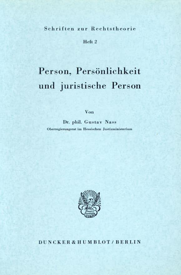 Cover Person, Persönlichkeit und juristische Person