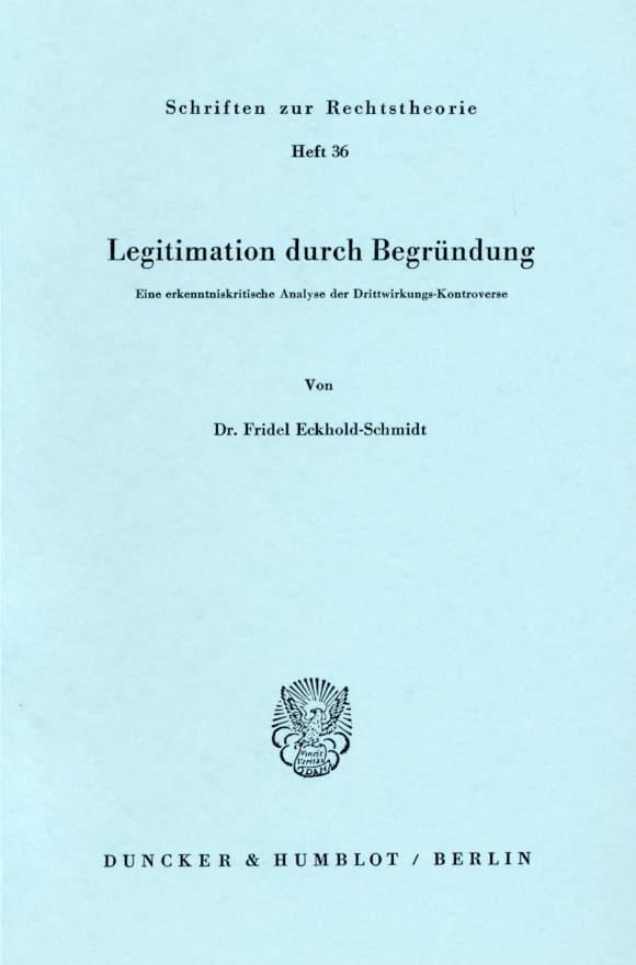 Cover Legitimation durch Begründung