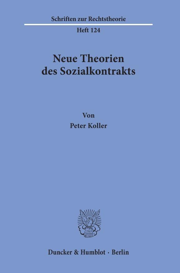 Cover Neue Theorien des Sozialkontrakts