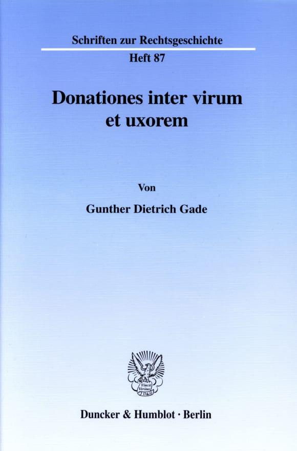 Cover Donationes inter virum et uxorem