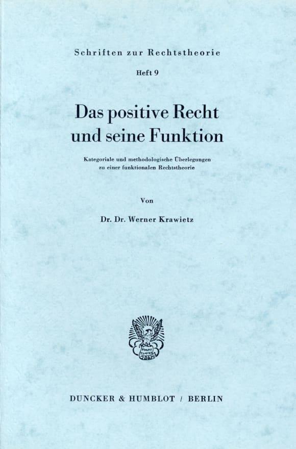 Cover Das positive Recht und seine Funktion