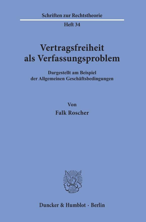 Cover Vertragsfreiheit als Verfassungsproblem